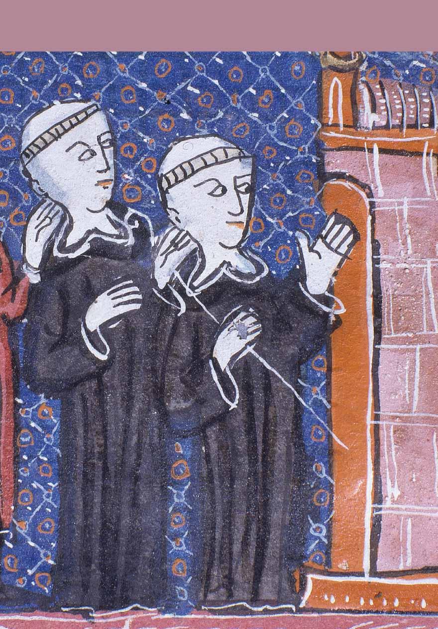 Enluminure représentant des moines